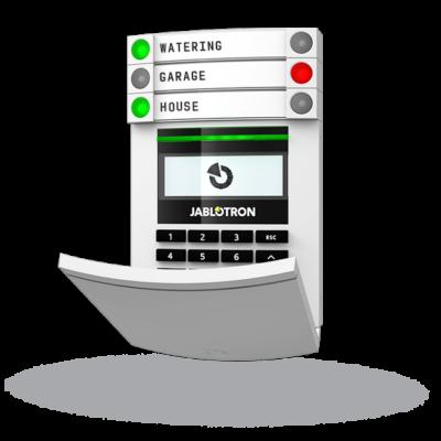 JABLOTRON JA-114E, vezetékes, címezhető kezelőegység, LCD kijelző, billentyűzet
