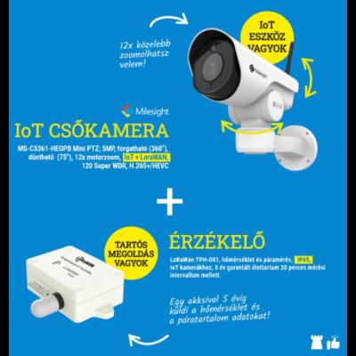 Milesight IoT okos zoom MS-C5361 csőkamera + hő-és páramérő érzékelő SET