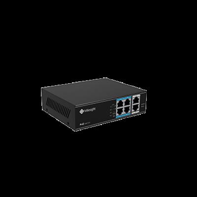 Milesight MS-S0204-EL 6/4 POE switch, 4X10/100Mbps PoE + 2X100Mbps uplink