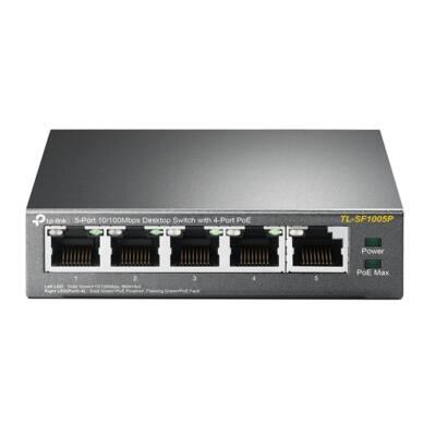TP-LINK TL-SF1005P, 5 portos SWITCH ebből 4 port POE tápfeladó